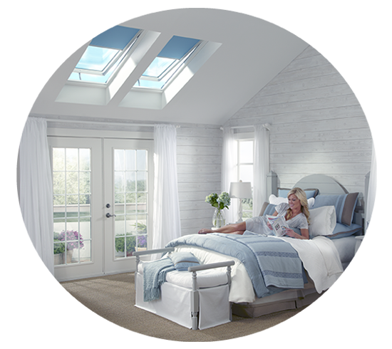 bedroom with roofing skylights
